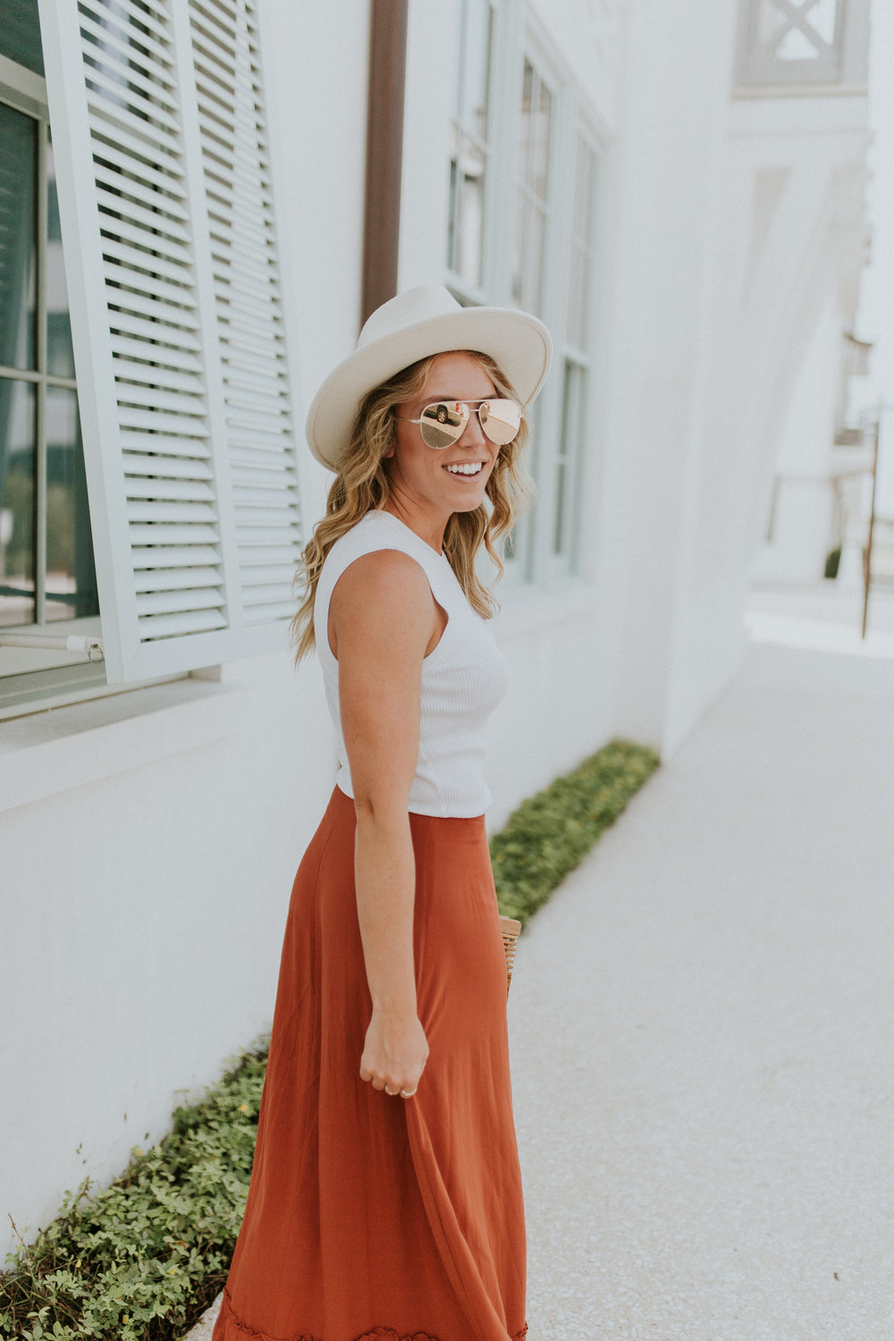 Blogger Gracefully Taylored in Revolve Skirt and Lack of Color Hat(6).jpg