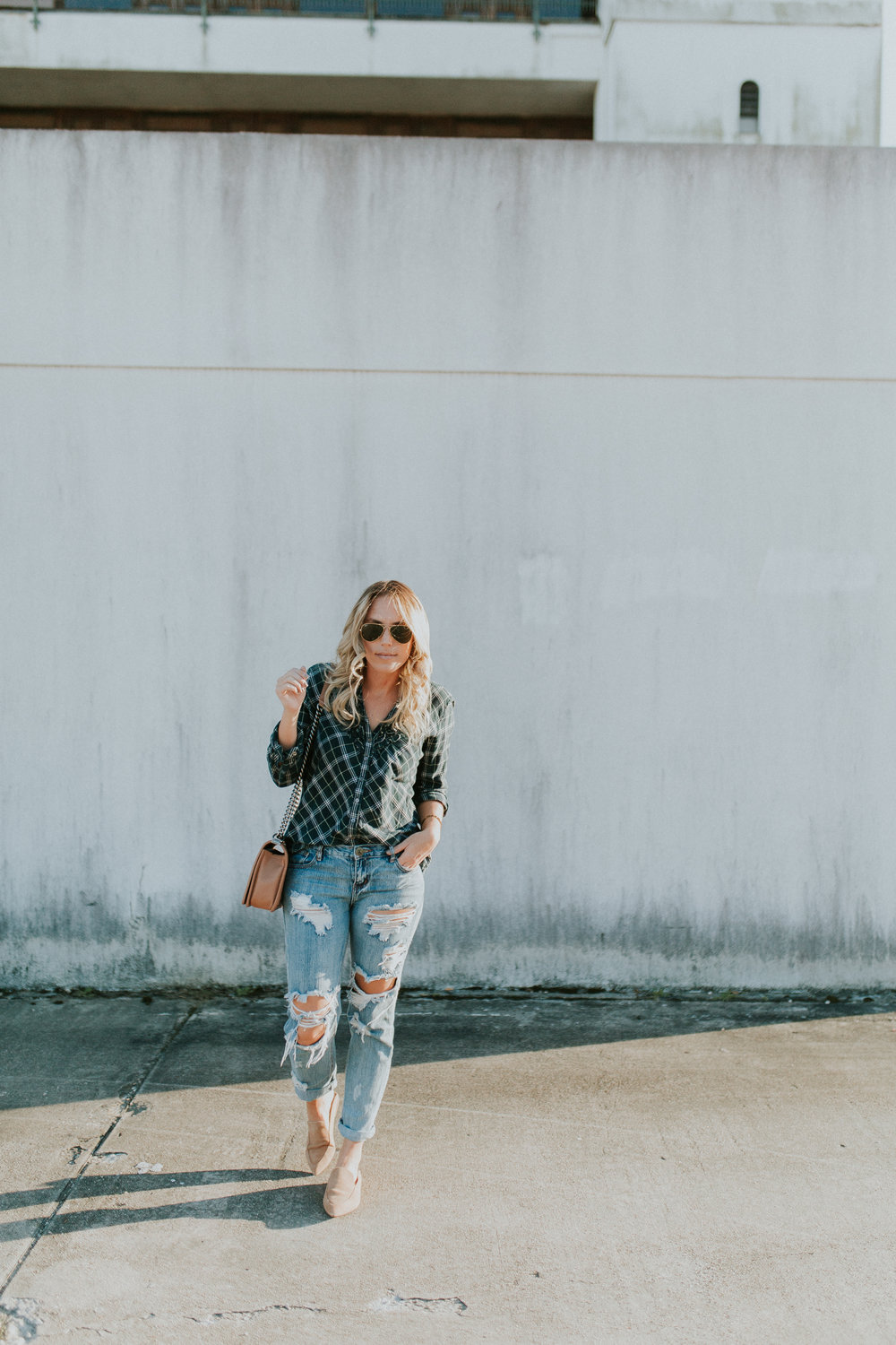 Blogger Gracefully Taylored in One Teaspoon Denim, Anthropologie Sweater and Plaid Top.jpg