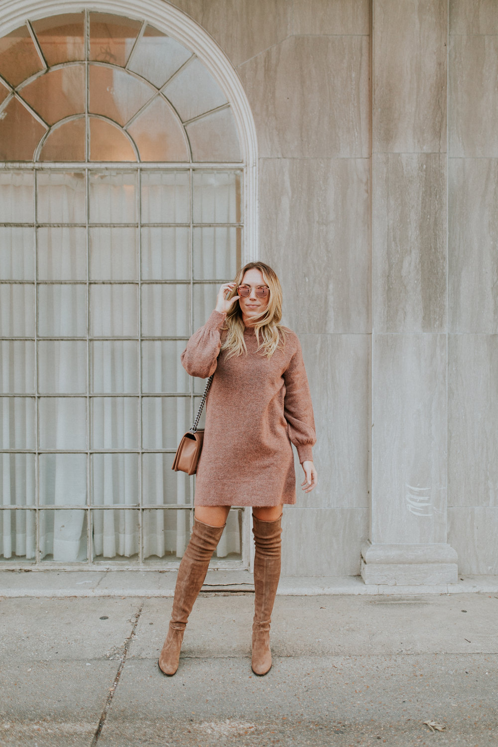Blogger Gracefully Taylored in Topshop Sweater Dress and Stuart Weitzman Boots(16).jpg