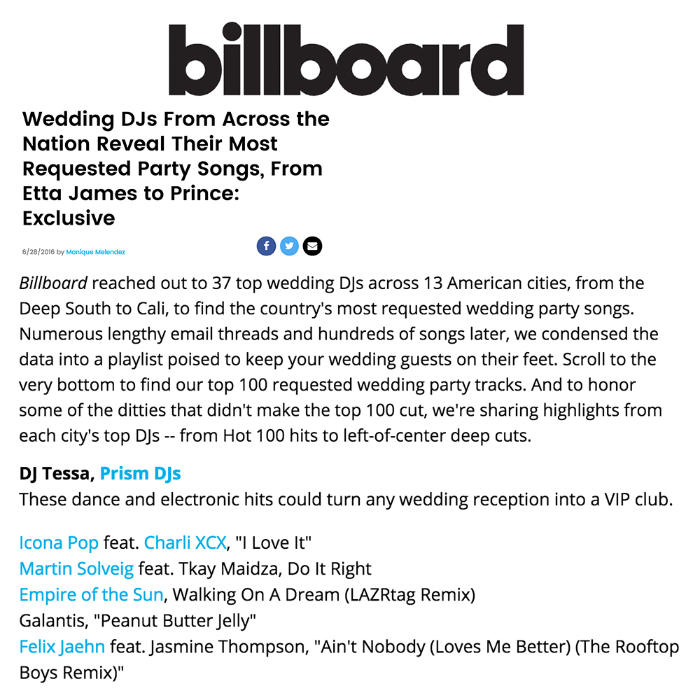 Blog dj tessa billboard asked me which edm songs were trending at weddings heres my short list click this link for the full article solutioingenieria Choice Image