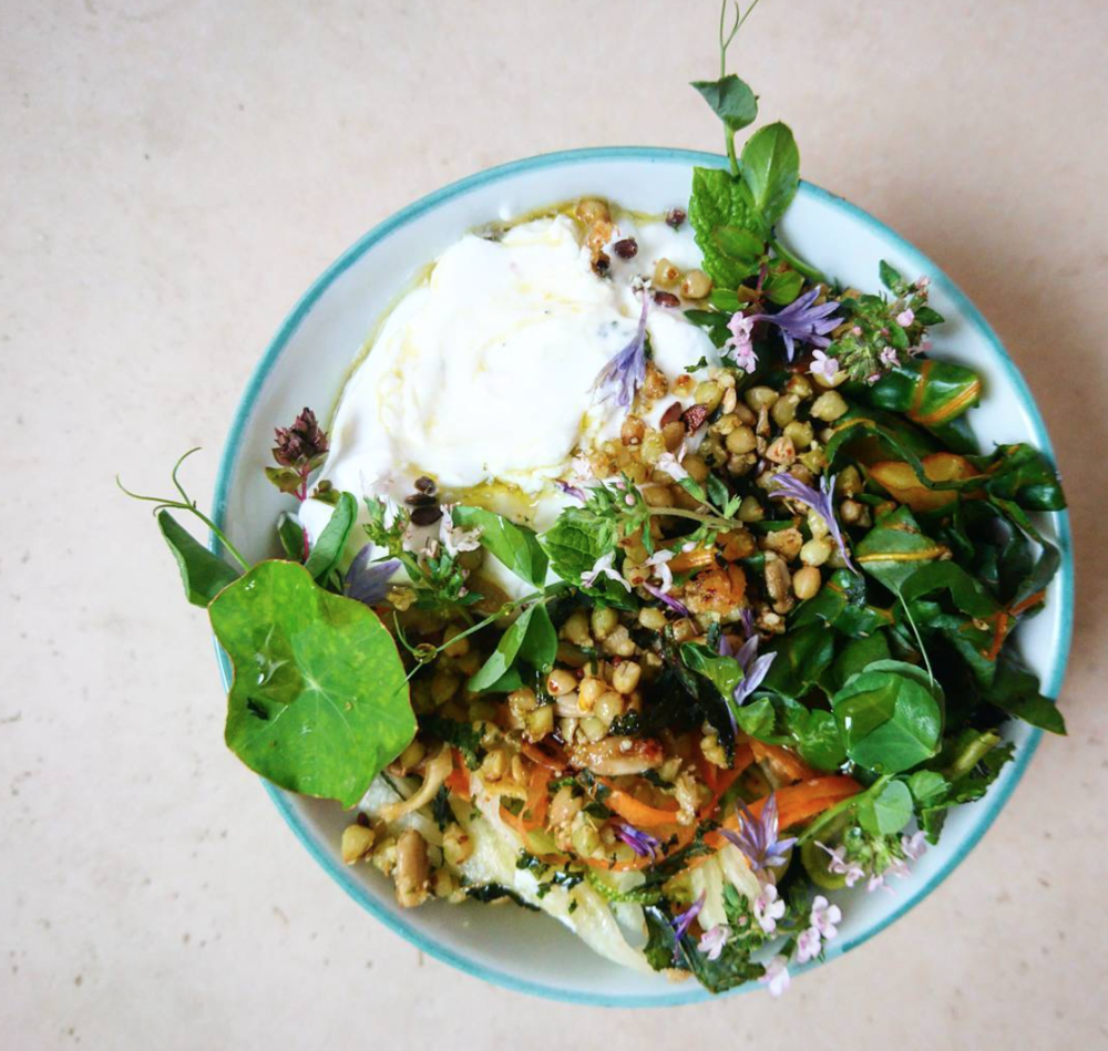 Savoury granola bowl with cultured coconut yoghurt & sprouted herb granola