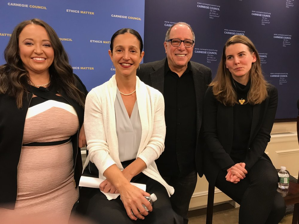 At CCEIA panel: Moderator Kameka Dempsey (left), and panelists Dina Deligiorgis, Michael Kimmel and Christiana Madden.
