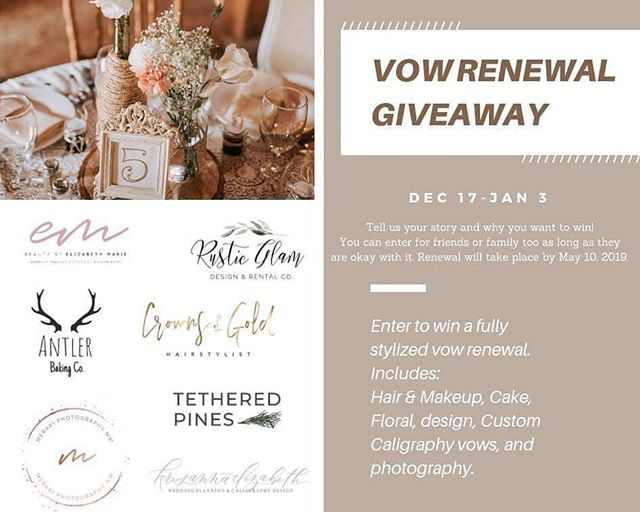 GIVEAWAY!! | We are giving away a stylized vow renewal to one lucky couple! ✨ I've teamed up with some amazing PNW talent @antlerbakingcompany @crownsofgoldstyling @tetheredpines @MerakiPhotographyNW @rusticglamrentalco and @krisannaelizabeth to capture a love story. Whether you enter for yourself, your parents, or grandparents, we can't wait to hear your story. Entering is easy! ✨ 1. Follow all of us! We will be checking!  2. Tag all your married friends below and tell us who you are entering for! 3. SHARE this post! . ✨ MOST importantly Click the link in bio and fill out the form to share your story with us!! That's it! Giveaway closes Jan 3, 2019 at 10:00 pm Winner will be announced here on Jan 4th! . *renewal must take place in Washington, by May 10, 2019. . . . #BellinghamWedding #BellinghamVowRenewal #VowRenewalGiveaway #BellinghamGiveaway #WashiontonGiveaway