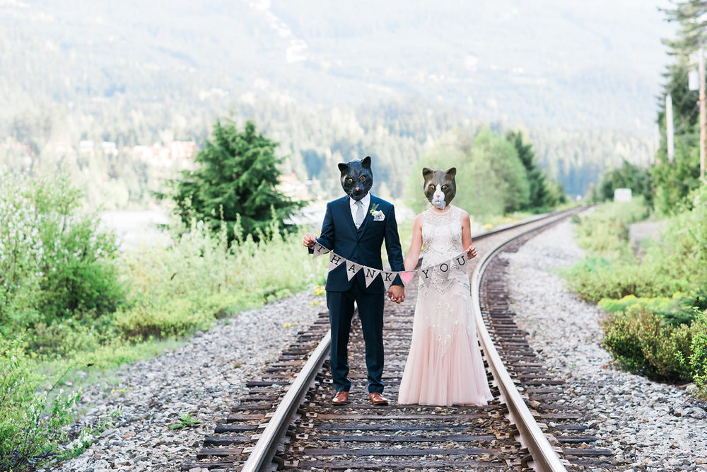 cat lovers thanks you bride and groom untradional photo