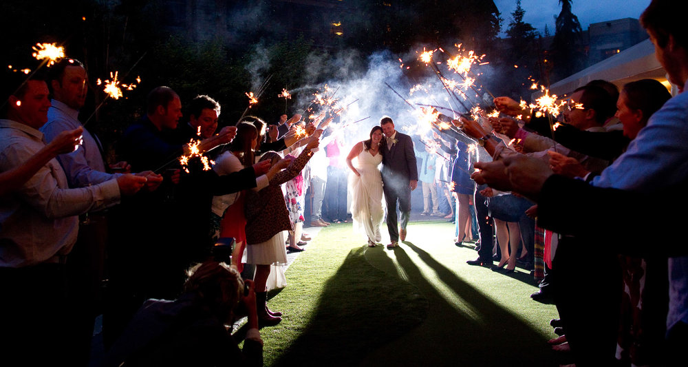 sparklers send off evening wedding photography