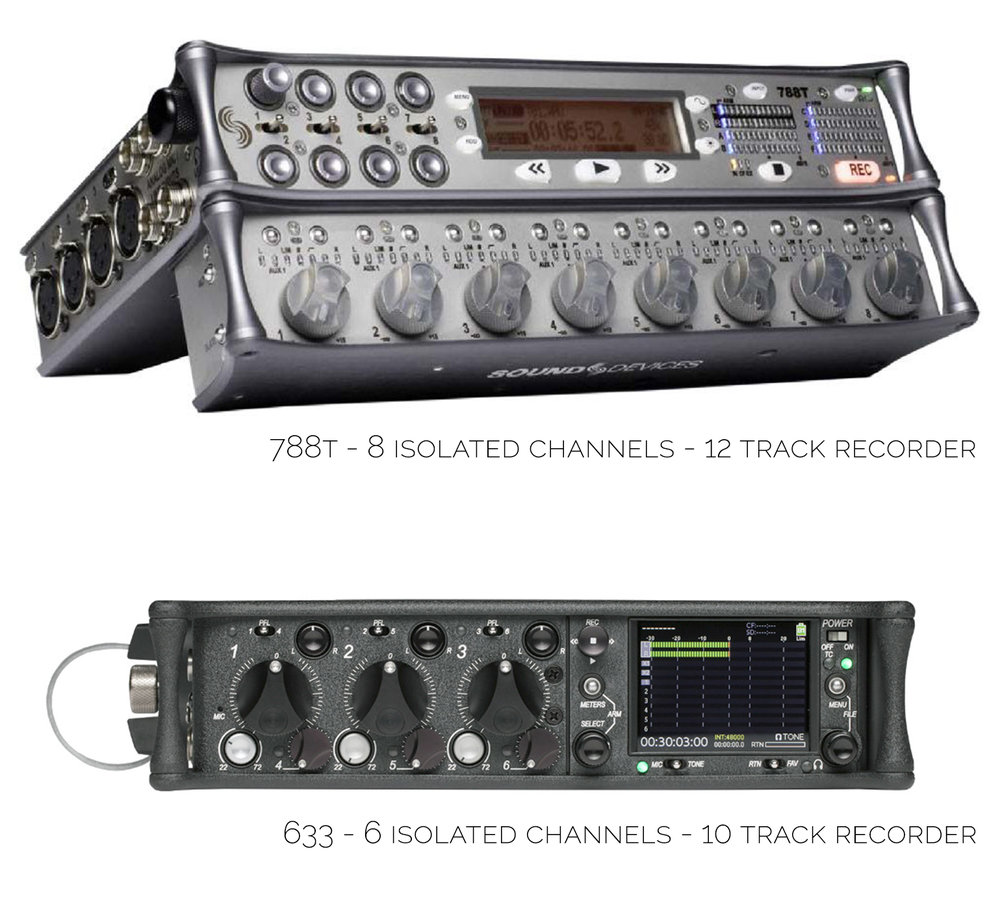 Recorders / Mixers  - SOUND DEVICES - Crystal-clear mic preamps with tons of headroom, rock-solid timecode, and all the routing options to accommodate the day-to-day changes of production work. Amazing sound, highly flexible, and extremely reliable.