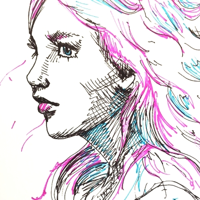 Ink & Color - Ink & Color sketches are pen & ink sketches with pops of colored pen throughout. These take more time than our black and white pen and ink sketches.