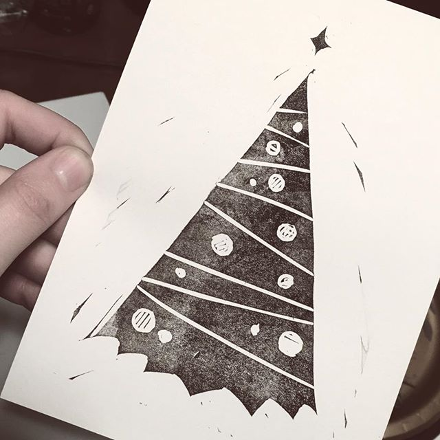 Oh my goodness this year is flying by. Getting holiday prints ready! In stock come November! #tree #ink #printmaking #testprint #print #holidays #christmastree