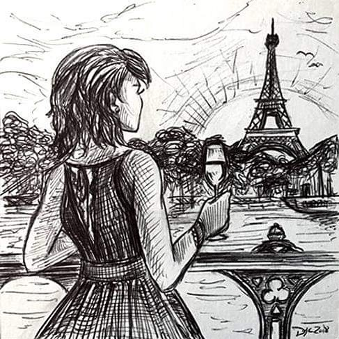 """I would like you to draw a young girl, in her 20's living her best life in Europe. She has dark brown hair, it's cut like a bob with bangs. She's skinny and very fashion forward. She is happy, drinking wine somewhere on an adventure."" A recent custom art request. Order one as a gift for the holidays (for a friend or yourself!) at inkonymous.com! Link in bio :) #art #drawing #pen #giftideas #inkonymous #inkdrawing #custom"