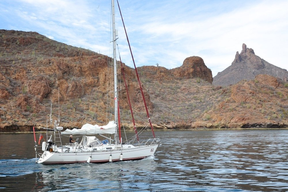 Single-handed circumnavigator Jeanne Socrates arrives in San Carlos, Mexico, Feb., 2012.