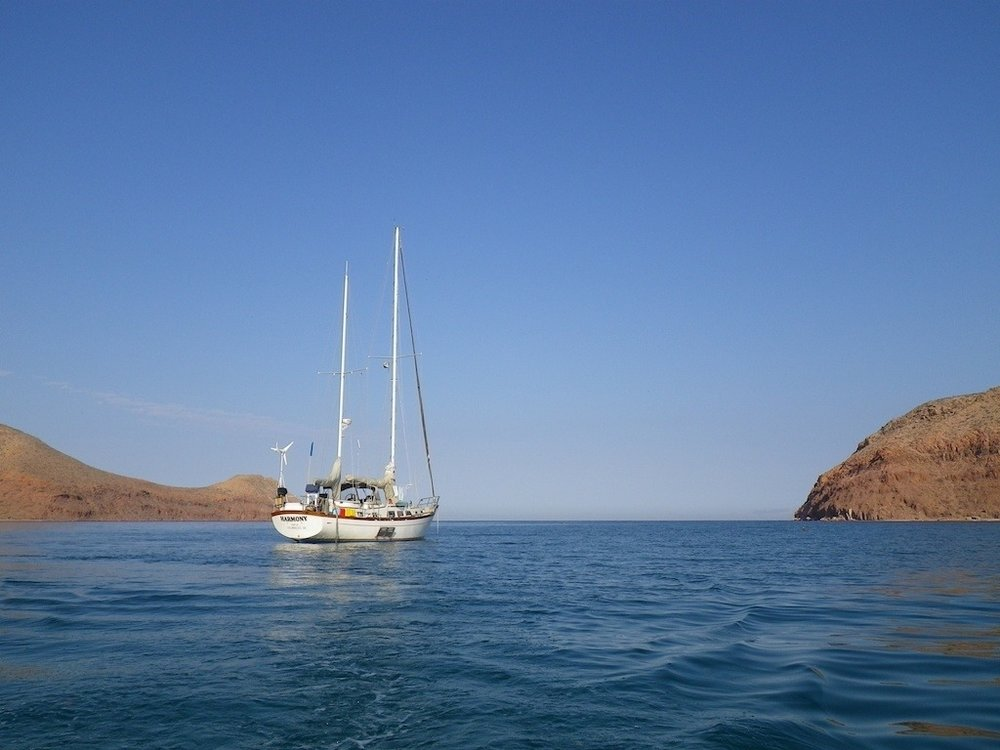 Harmony  anchored in the Sea of Cortez.