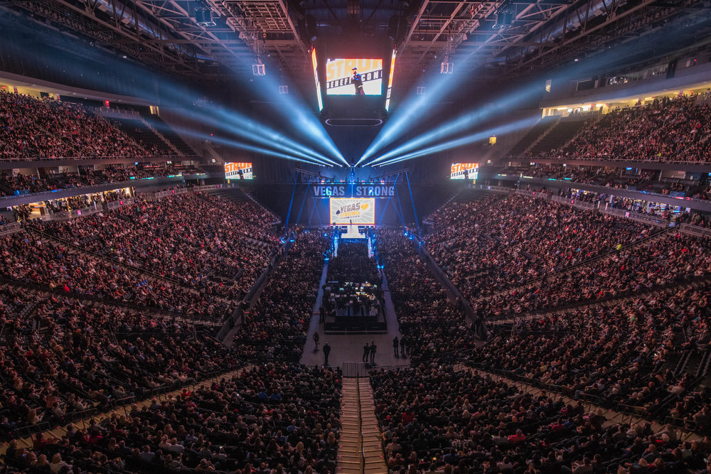 The crowd at the T-Mobile Arena for the Vegas Strong Benefit Concert, Las Vegas, Nev, Dec. 1, 2017.Photo credit: Powers Imagery
