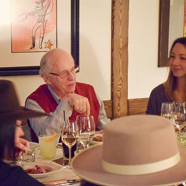 Dinner with the entertaining and hilarious Chuck, the best story teller we know. #banffsbigtaste #chucksteakhouse
