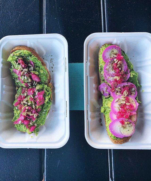 Hump day looking pretty good 😋☀️ #avocadotoast #pickledeggs #sourdough #whenpigsflybakery