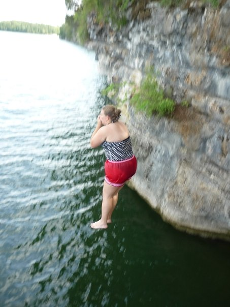 So one time I literally leaped off of a 35, maybe 40 foot cliff into the water...an out of character moment, but so fun. Plugging my nose didn't make for the best picture, but sacrificing a good picture so I wouldn't get water plunged up my nose was worth it.