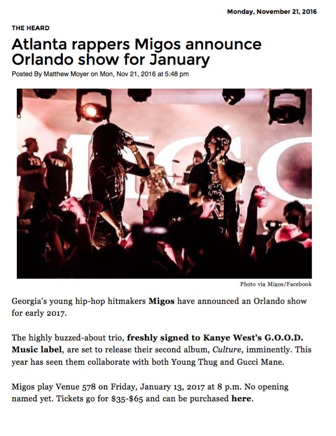 Migos performing live in concert in Orlando