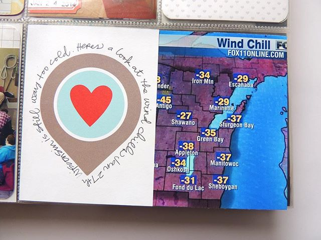 """We're settling into our new home nicely 🏡 Today I continued unpacking books and photos, including old albums like this one from 2014. I'm laughing over this little tidbit I added from the last polar vortex. Those windchills are nothing compared to this year...and all the snow days locked inside with a teething babe. 😳 This year's album will include the journaling, """"Survived on mac n cheese, hot chocolate, and calls from grandma."""""""