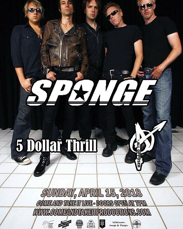 We're out at @comeandtakeitlive with Sponge and 5 Dollar Thrill tonight. It's going to be an exciting night so come join us!