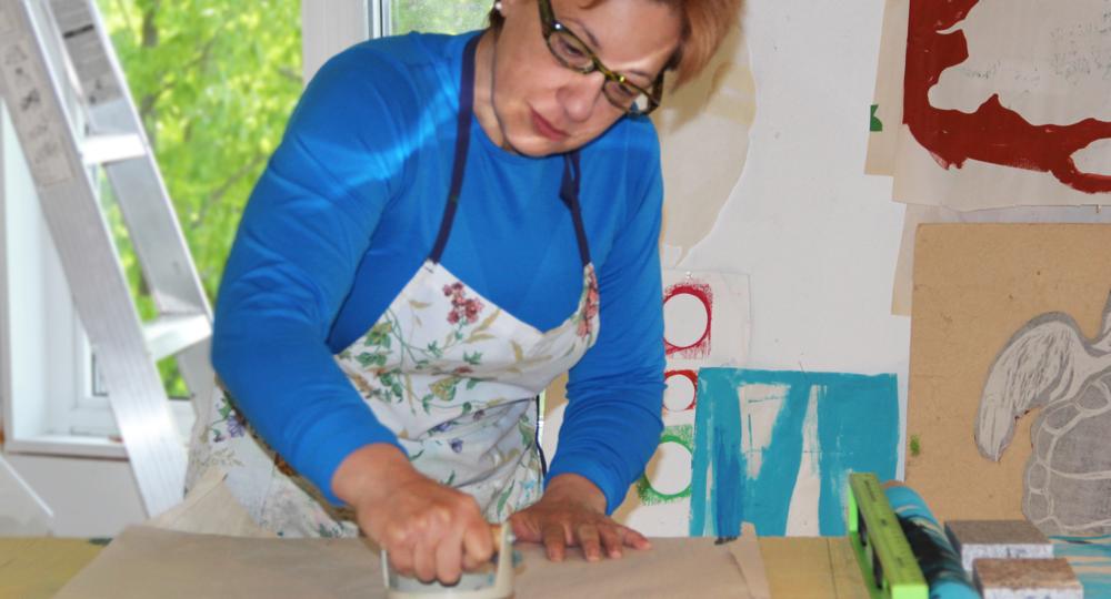 Louise Boisvert au travail. Crédit photo : Louise Boisvert.