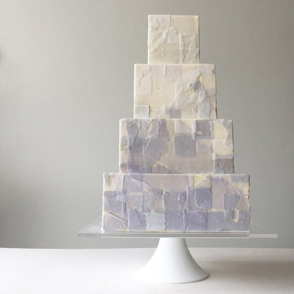 periwinkle pixel wedding cake