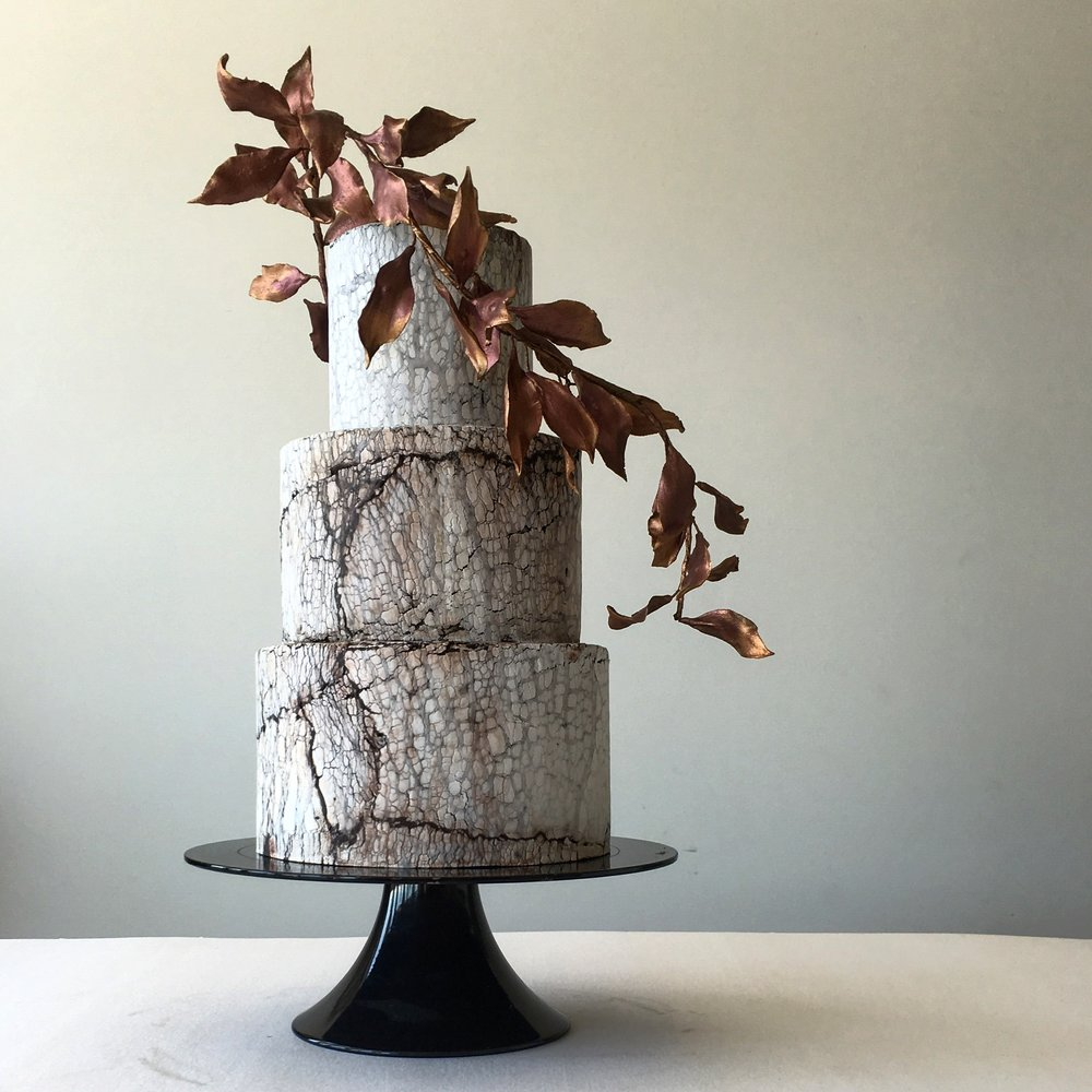 crackle effect wedding cake copper