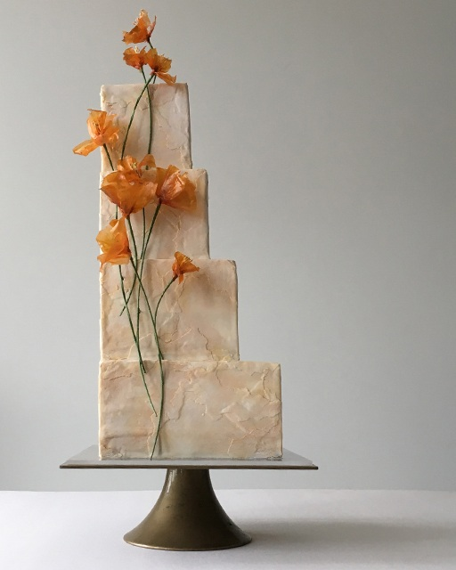 rice paper flowers california poppies wedding cake