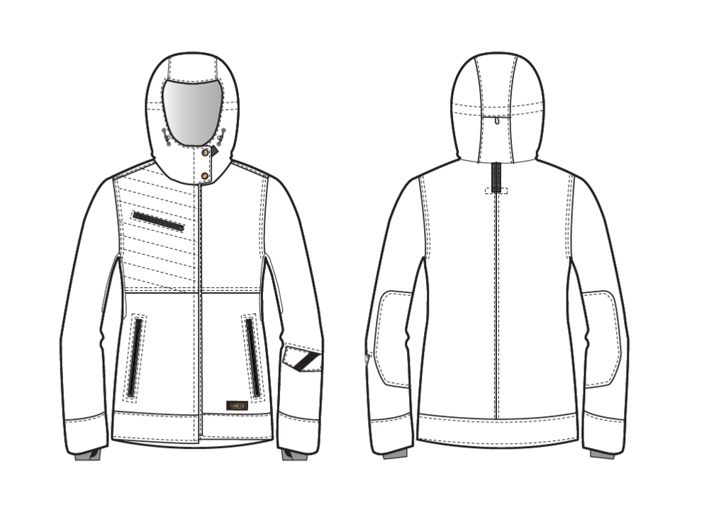 Concept Sketch Delivered to RIDE team for the Women's CHERRY JACKET shown below.