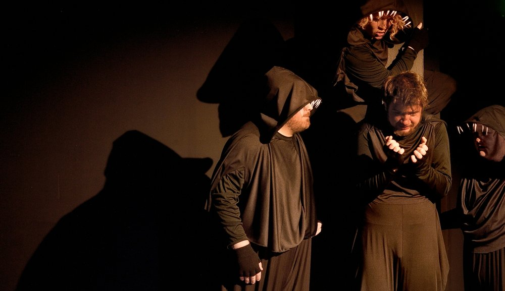 Performer  Jordan Moeller  surrounded by  Marcus Gorman , Alyza DelPan-Monley , and  Jessica Stepka  in DangerSwitch!'s  BIG BAD at Ghost Light Theatricals. Directed by  Eddie DeHais .  Photo credit:  Joe Iano