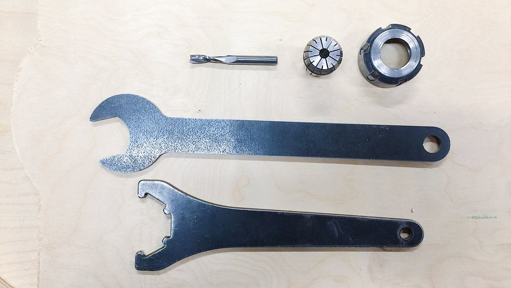 use the wrenches to install the 1/4 bit