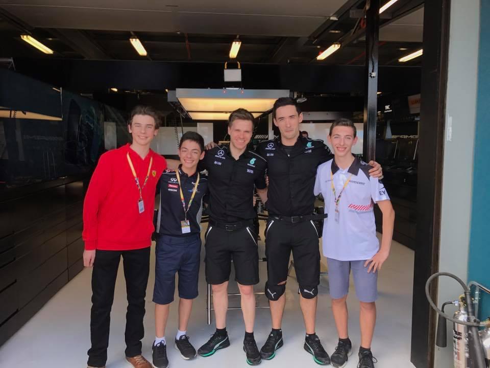 David in Lewis Hamilton's garage.