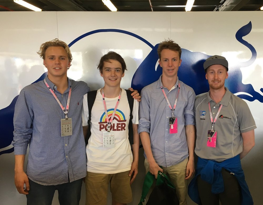 Hugh, Alec, Kyle and Brett (Re-Engineering Australia) in the Toro Rosso garage.