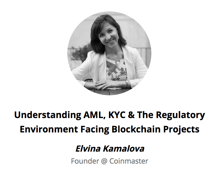 Topic: AML, KYC, & Regulatory Environment facing blockchain projects   Houston, TX, September 2018. https://discoverblockchains.com