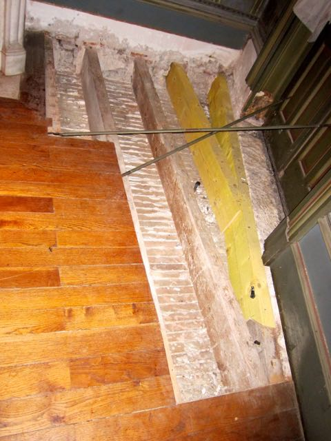 Damaged floorboards from a flood 10 years ago.. New roof done and the rot taken out. We just need to get a few new (old) floorboards