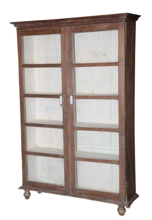 In069 Wooden Vintage Glass Door Cabinet With White Wash Inner