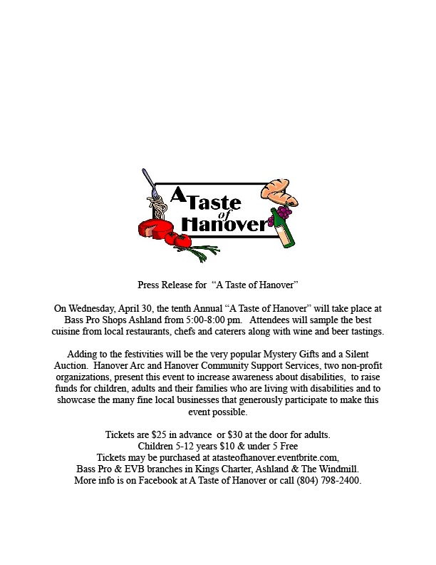 "Make plans to attend ""A Taste of Hanover"" to benefit Hanover ARC"