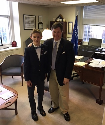 Henry Atkinson, Oak Knoll Middle School student with Del. Peace at the General Assembly Building