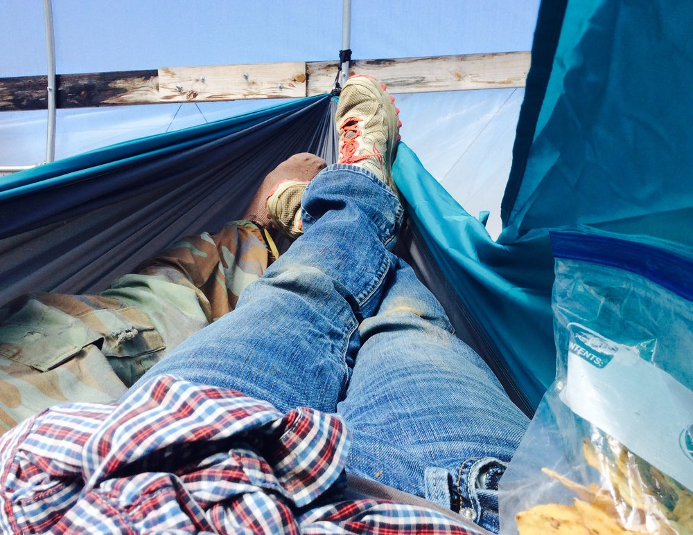 Hammock safety tip: Save your tortilla chip snack for when your feet are firmly on the ground.
