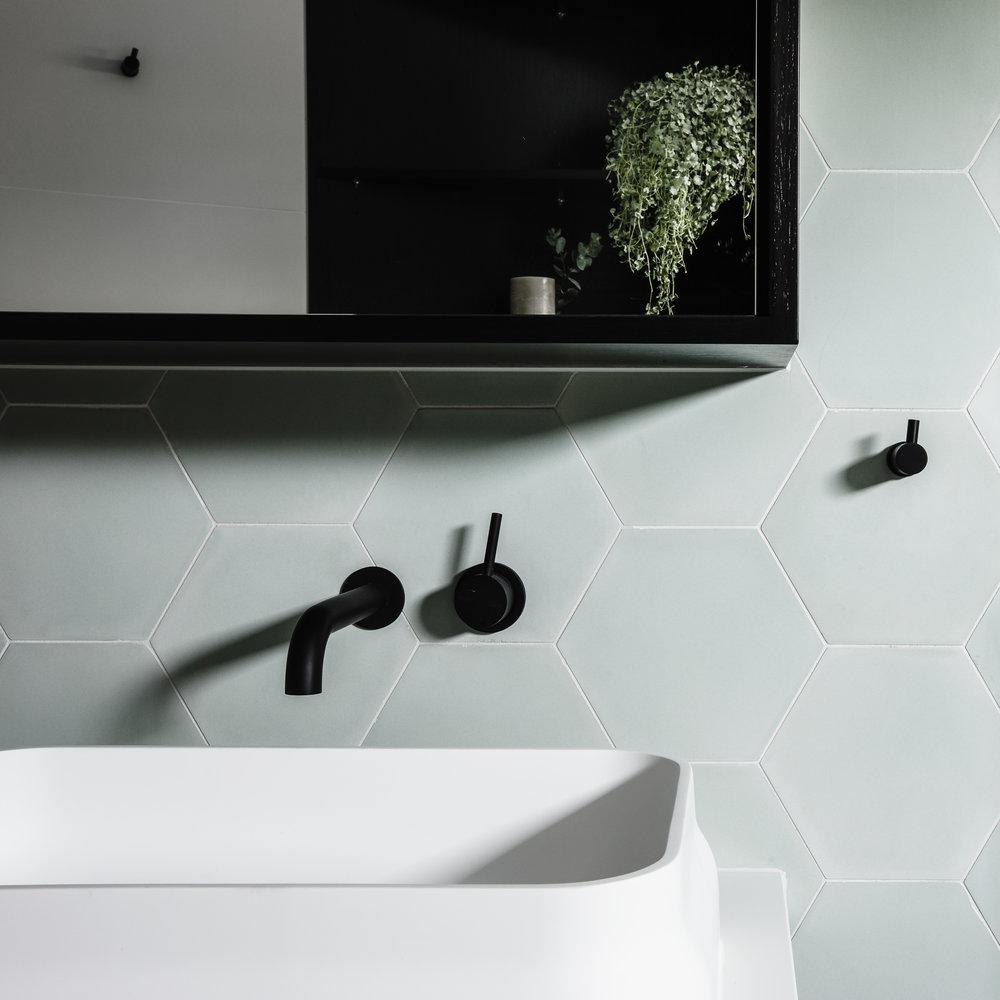 Interior Design -   Studio Ezra    Tiles -   Tiles of Ezra    Benchtop -   Caesarstone    Sink -     Omvivo    Tapware -   Astrawalker