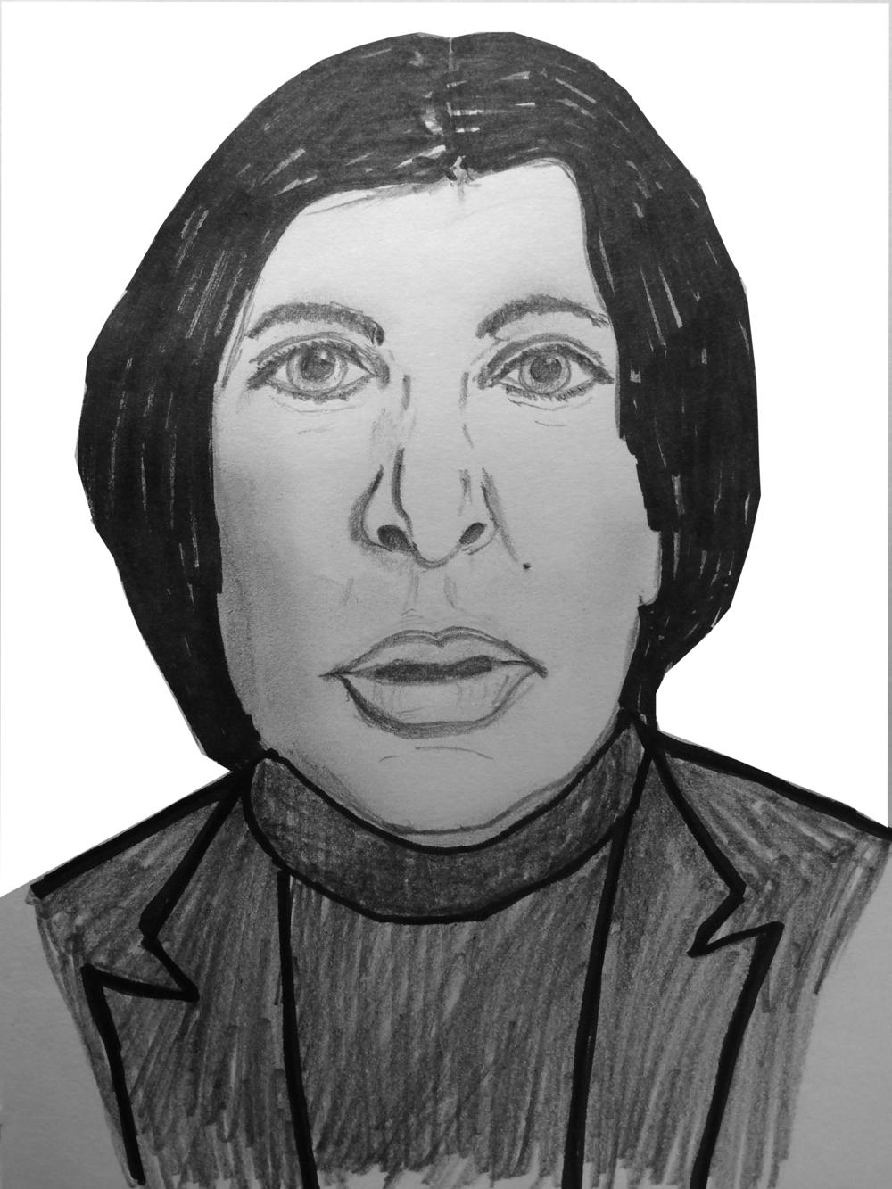 Marina Abramovic, au firmament de l'art-performance ( dessin de l'auteur )