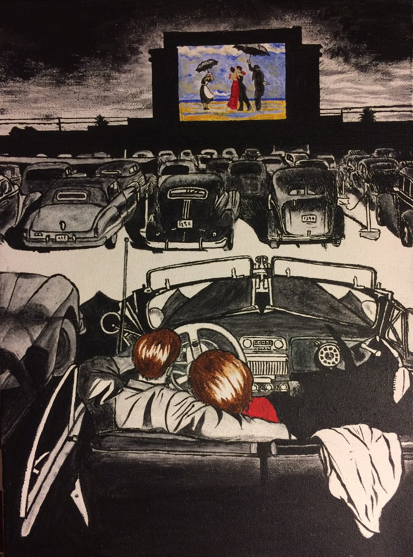 Drive in, en hommage au Singing Butler de Vettriano, par Alice P. (acrylique sur toile)