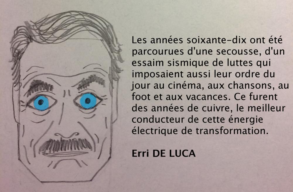 Erri de Luca, sur les années de cuivre (dessin de l'auteur)