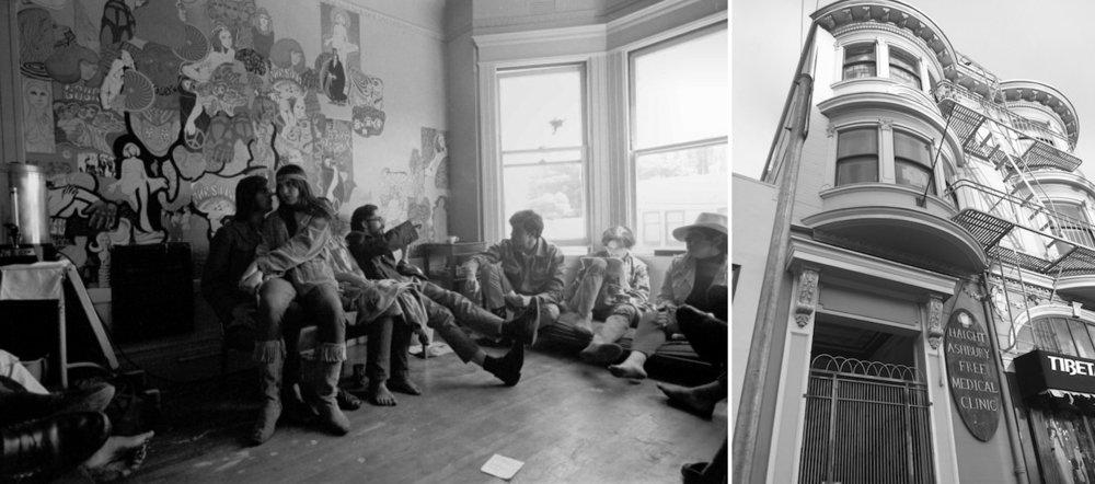 La clinique gratuite de Haight-Ashbury, à gauche en 1967 (photographie de Gene Anthony, publiée avec l'aimable autorisation des Diggers Archives,  www.diggers.org , CC BY-NC-SA 4.0), à droite 50 ans plus tard (photographie de l'auteur)