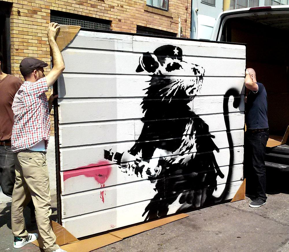 L'un des rats de Banksy a pu être découpépour être préservéet présentéau public (photo reproduite avec l'aimable autorisation du propriétaire Brian Greif et la gracieuse intervention d'Agnès Faure, co-fondatrice de la galerie  836M , qui l'a un temps exposé)