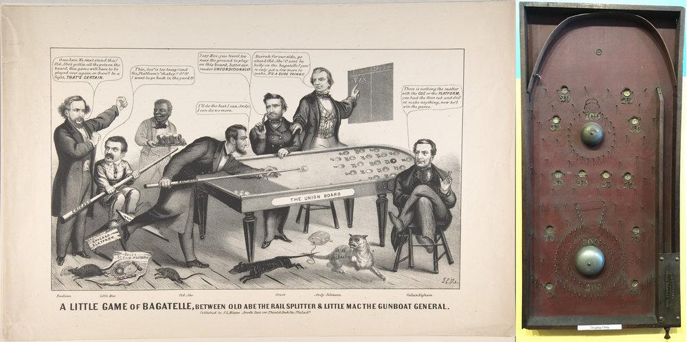 A gauche : une fameuse lithographie de 1864 par John Magee montrant Abraham Lincoln en pleine partie de bagatelle (don de Georgiana Sargent au Metropolitan Museum of Art). A droite : avec l'invention du tire-billes à ressort en 1871, la bagatelle version américaine reste encore largement un jeu de hasard.