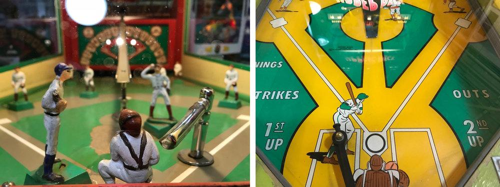 La filiation du  flipper  avec la batte de baseball est claire. Dans ces deux machines la balle surgit soit d'une rampe surélevée soit d'un orifice masqué au centre du jeu : le tourniquet doit la cueillir à l'instant parfait pour la renvoyer le plus loin et le plus droit possible.