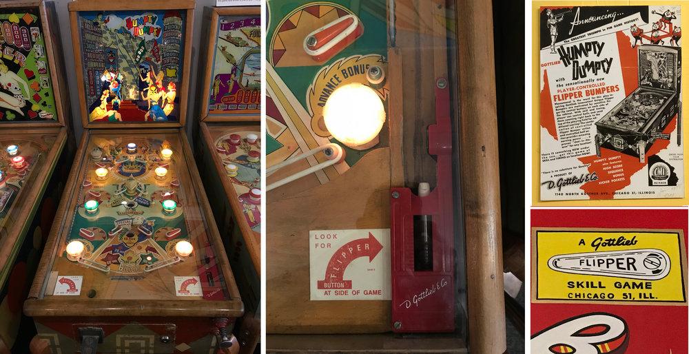 Au  Pinball Museum  d'Alameda, j'ai pu jouer sur le premier vrai flipper,  Humpty Dumpty  (1947). Ce nouveau doigt mobile ganté de caoutchouc qui permet de gifler la bille vers le haut va devenir la marque de fabrique de Gottlieb.