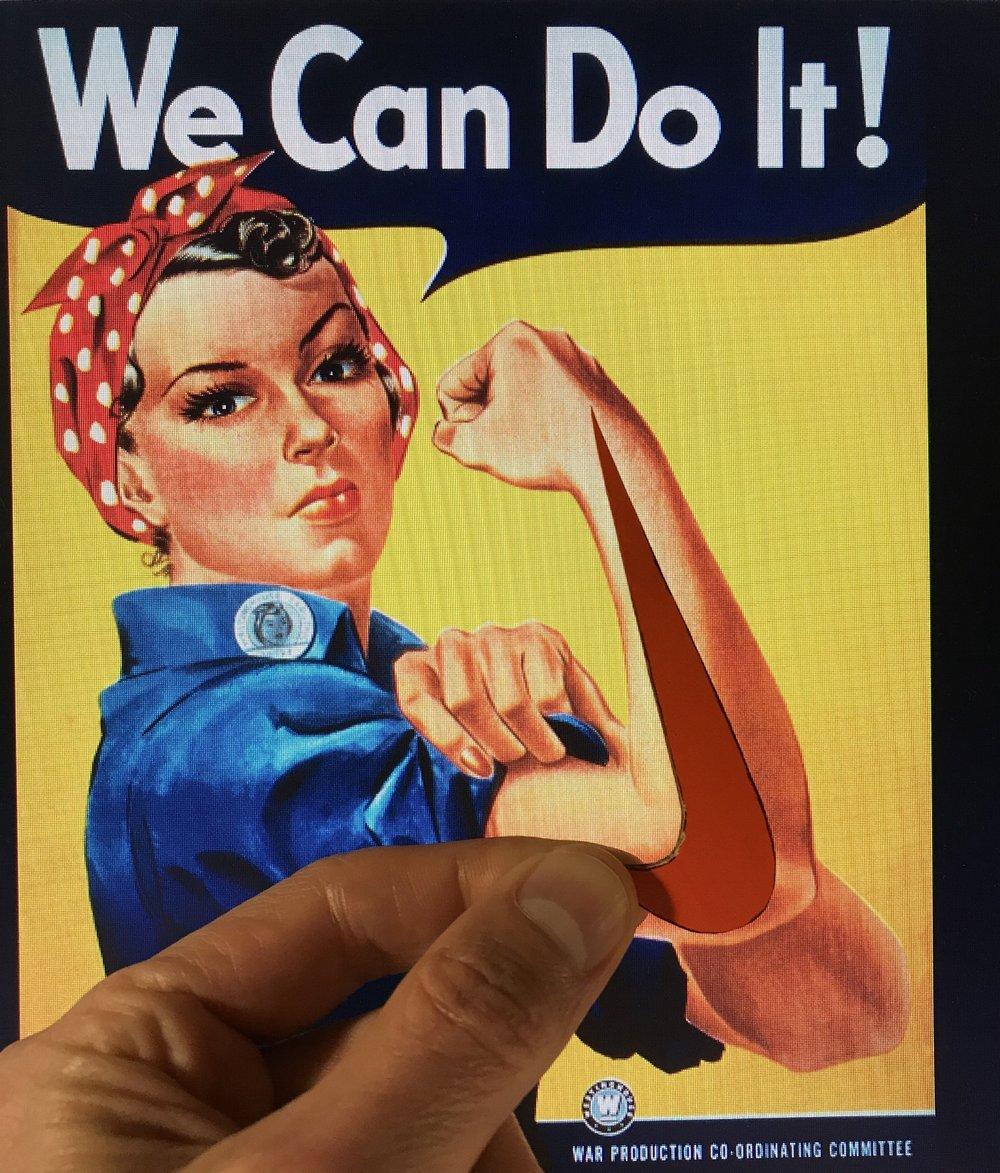 Rosie la riveteuse  aurait pu servir de modèle à un certain équipementier sportif (Affiche de J. Howard Miller, 1943, Westinghouse, domaine public, Wikimedia Commons)