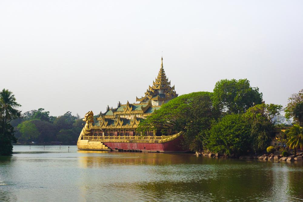 The Karaweik Hall in Kandawgyi Lake