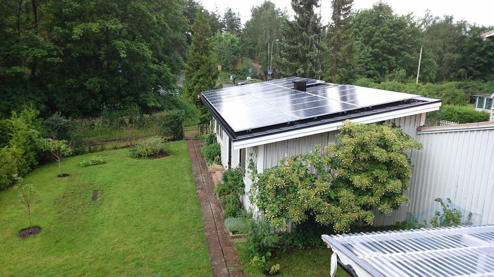 Gästhus,28 st 260 W Hareon Solar  Investering 134 000 kr, återbetalningstid ca 12 år  Energiproduktion 7 350 kWh/år