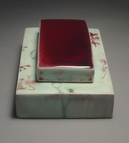 "<i>Weep Not </i>. porcelain, c/10 red. fired, h. 2 1/8"" x w. 4 1/2"" x d. 7"", 1999"